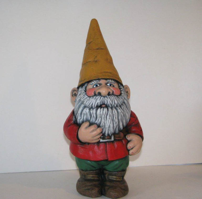 Ceramic Painted Garden Gnome Set - One Large Gnome and 3 Mini Gnomes