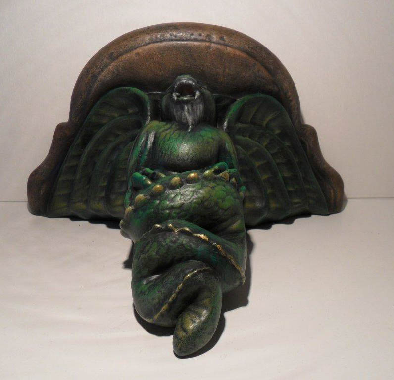 Ceramic Painted Gargoyle Wall Sconce