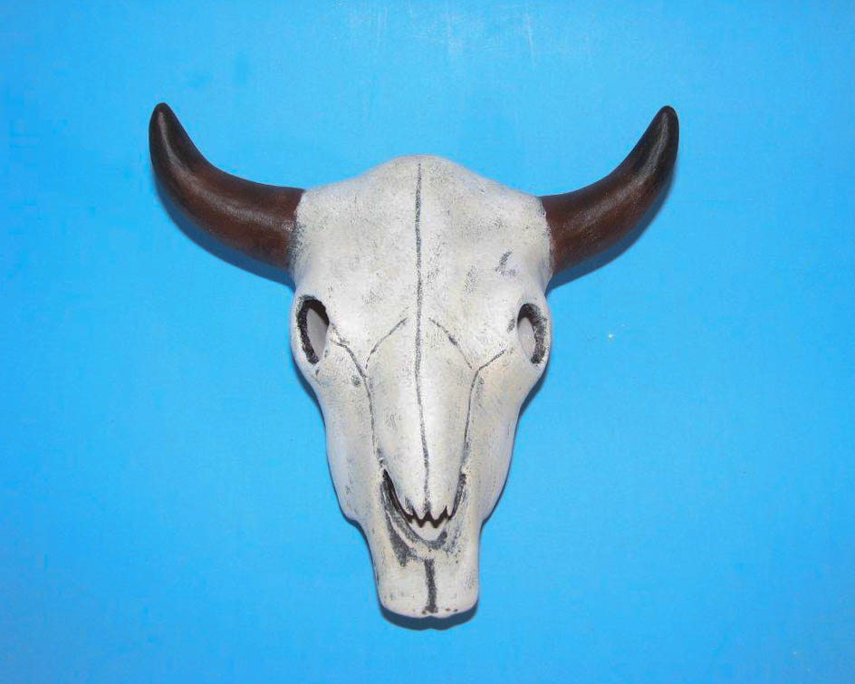 ceramic painted cow, steer, buffalo skull
