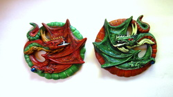Ceramic set of dragon wall decor or plaques