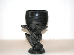 Ceramic large black dragon goblet