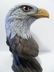 Ceramic painted eagle bust