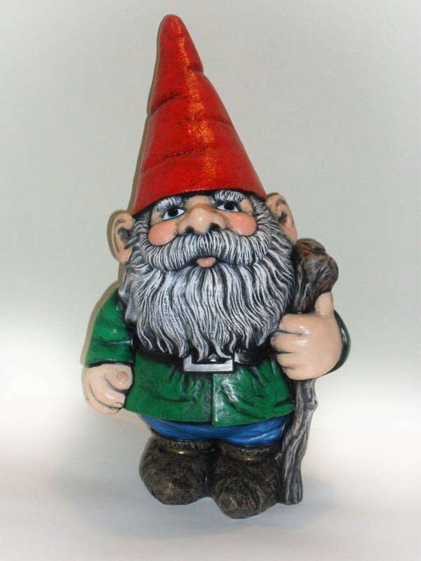 Gnome In Garden: Ceramic Painted Large Garden Gnome