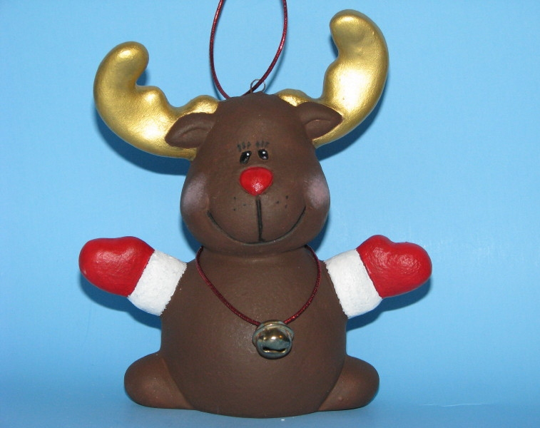 Ceramic painted reindeer christmas ornament with bell