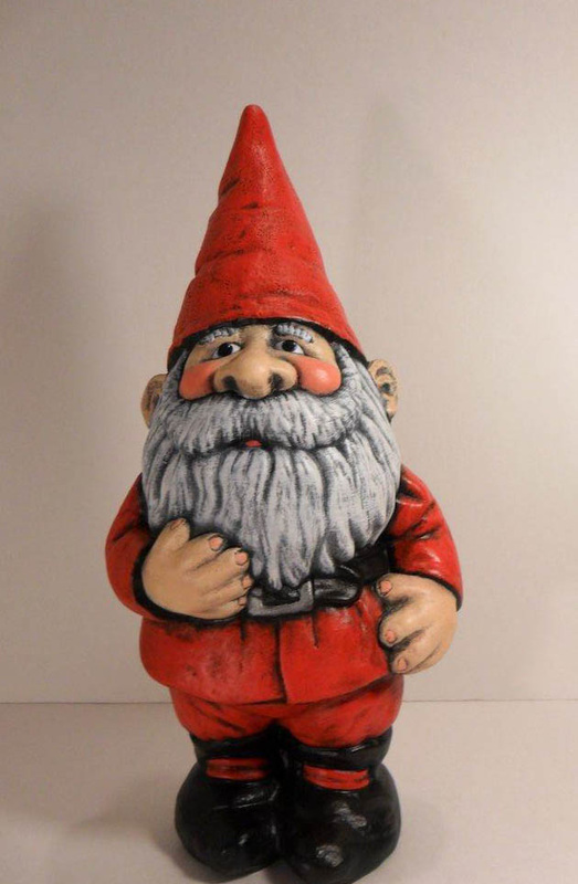 Ceramic painted santa gnome