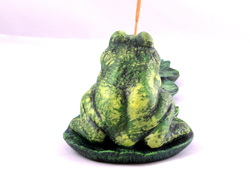 Ceramic Frog on Lilypads Incense Holder with Two Holes for Incense