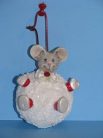 Ceramic painted mouse in a snowball christman ornament
