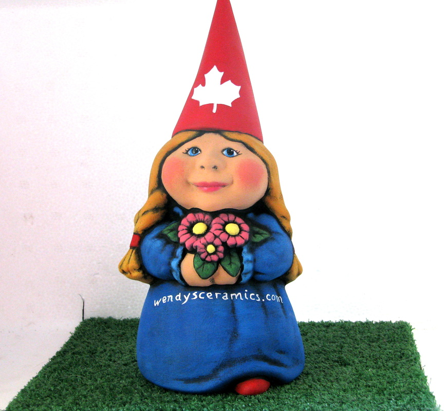 Ceramic Painted Female Garden Gnome With Website Marketing