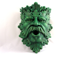 Ceramic Greenman Bird House and Planter Wall Hanging