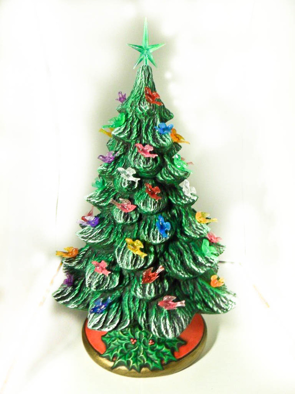 Ceramic painted medium pine christmas tree