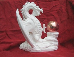 Ceramic unpainted dragon of reflection