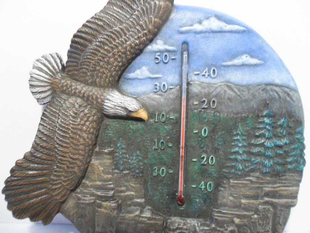 Ceramic painted eagle thermometer
