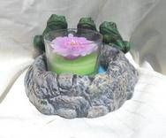 Ceramic painted three frogs on a pond candle holder