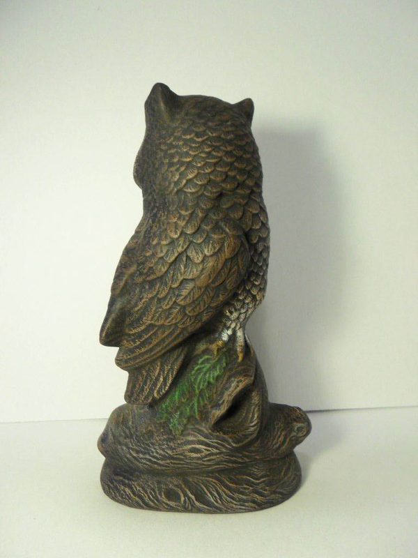 Ceramic painted standing owl