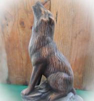 Ceramic painted howling wolf